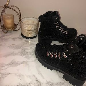 Black rhinestone boots